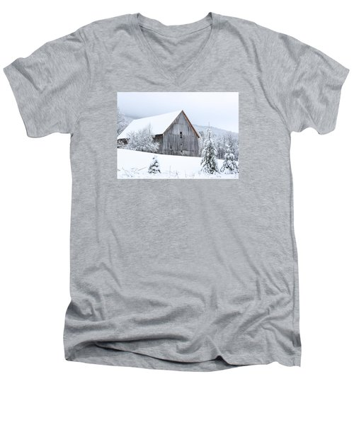 Barn After Snow Men's V-Neck T-Shirt by Tim Kirchoff