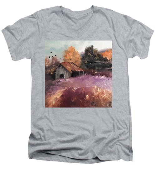Barn And Birds  Men's V-Neck T-Shirt by Michele Carter