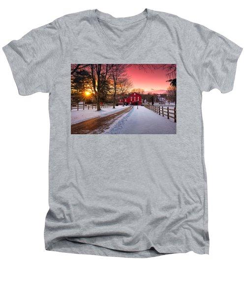 Barn At Sunset  Men's V-Neck T-Shirt
