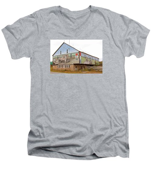 Men's V-Neck T-Shirt featuring the photograph Barn In Bedford by Trina  Ansel
