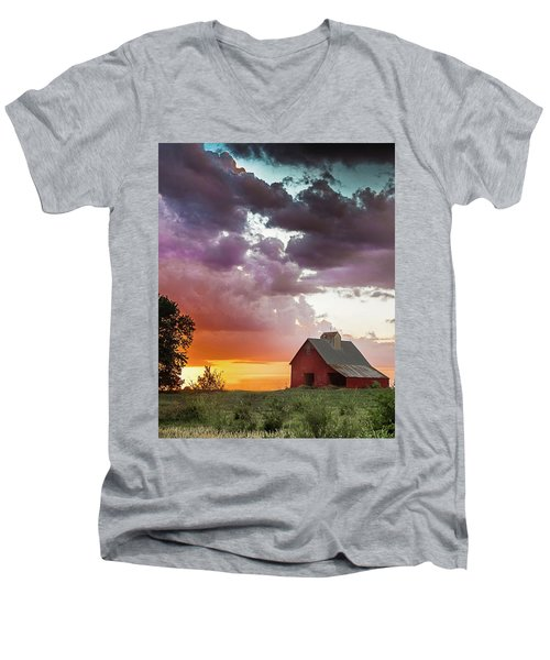 Men's V-Neck T-Shirt featuring the photograph Barn In Stormy Skies by Dawn Romine