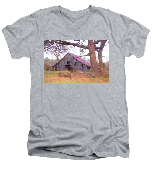 Men's V-Neck T-Shirt featuring the photograph Barn In The Valley by Susan Crossman Buscho