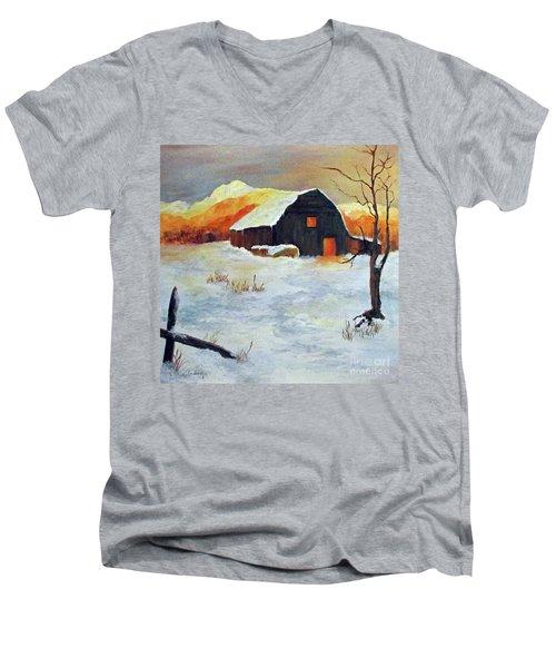 Barn In Winter Men's V-Neck T-Shirt