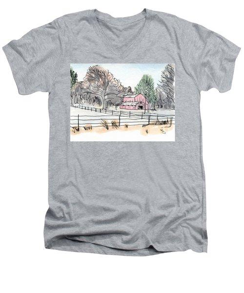 Barn In Winter Woods Men's V-Neck T-Shirt
