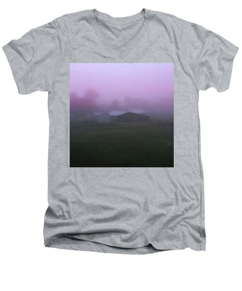 Barn On A Misty Morning Men's V-Neck T-Shirt