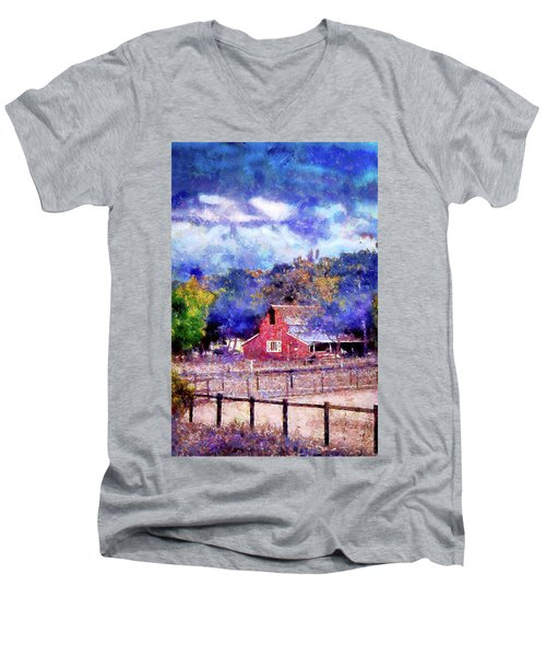 Barn On Ca Highway 154 Men's V-Neck T-Shirt by Joseph Hollingsworth