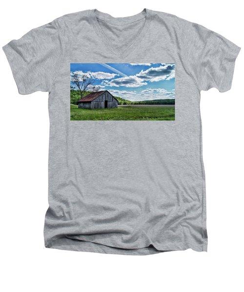Men's V-Neck T-Shirt featuring the photograph Barn On Cedar Creek Bottoms by Cricket Hackmann
