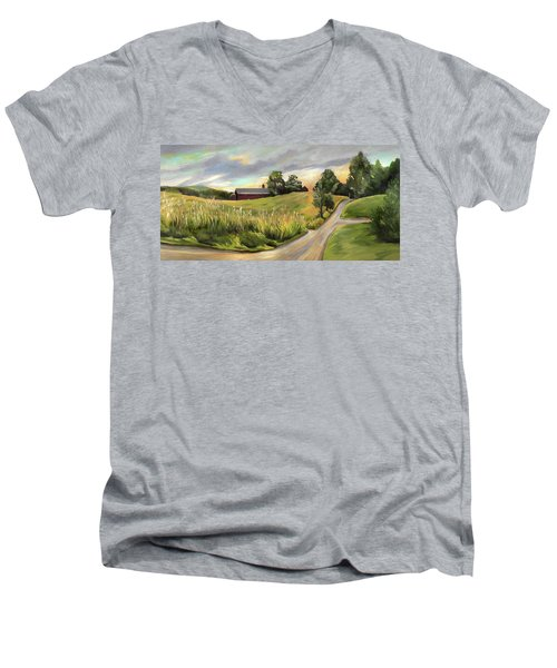 Barn On The Ridge In West Newbury Vermont Men's V-Neck T-Shirt