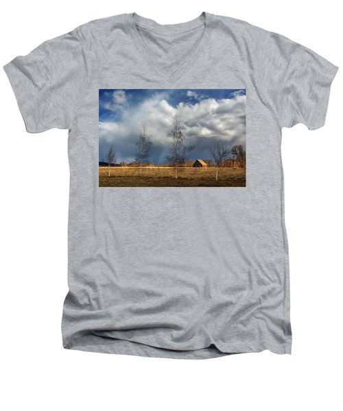 Men's V-Neck T-Shirt featuring the photograph Barn Storm by James Eddy