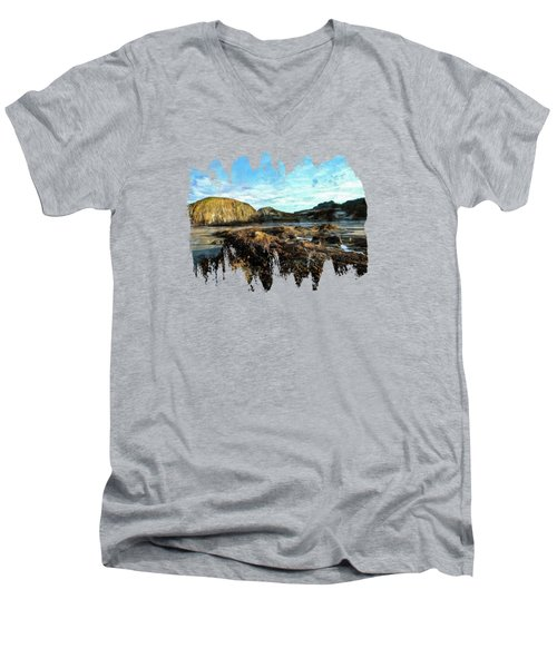 Men's V-Neck T-Shirt featuring the photograph Barnacles On The Beach by Thom Zehrfeld
