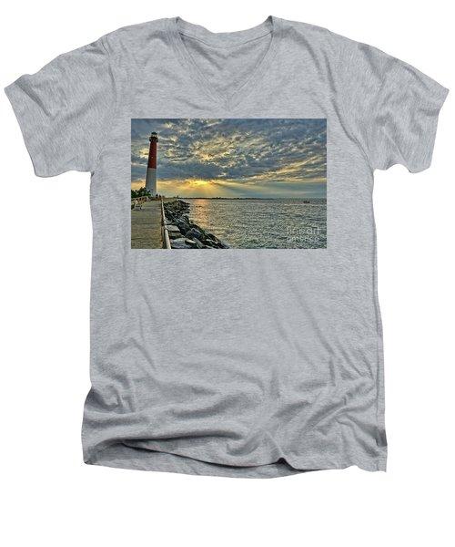 Barneget Lighthouse  New Jersey Men's V-Neck T-Shirt