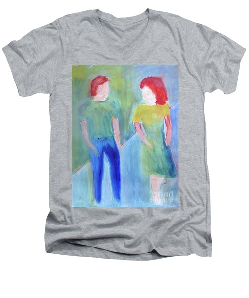 Men's V-Neck T-Shirt featuring the painting Barney And Elizabeth by Sandy McIntire