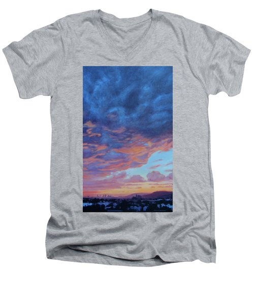 Men's V-Neck T-Shirt featuring the painting Barnsdall Hill by Andrew Danielsen