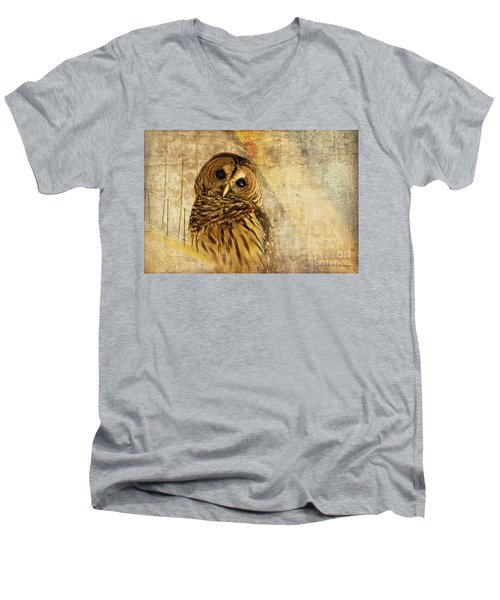 Men's V-Neck T-Shirt featuring the photograph Barred Owl by Lois Bryan