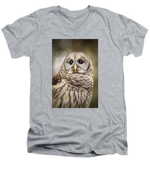 Men's V-Neck T-Shirt featuring the photograph Hoot by Steven Sparks
