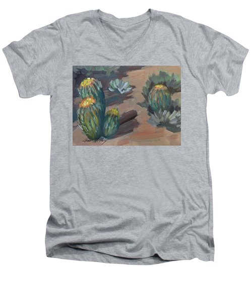 Men's V-Neck T-Shirt featuring the painting Barrel Cactus At Tortilla Flat by Diane McClary