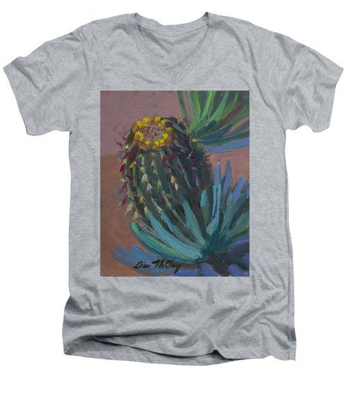 Barrel Cactus In Bloom - Boyce Thompson Arboretum Men's V-Neck T-Shirt by Diane McClary