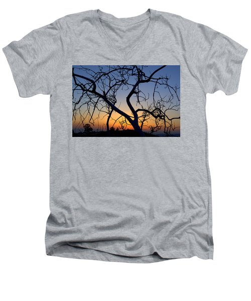 Men's V-Neck T-Shirt featuring the photograph Barren Tree At Sunset by Lori Seaman