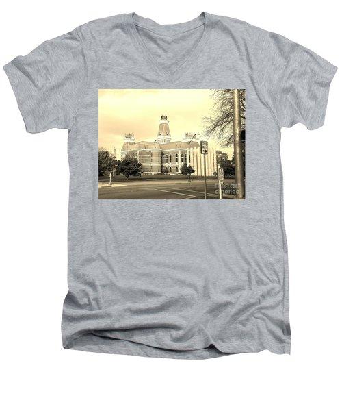 Bartholomew County Courthouse Columbus Indiana - Sepia Men's V-Neck T-Shirt by Scott D Van Osdol