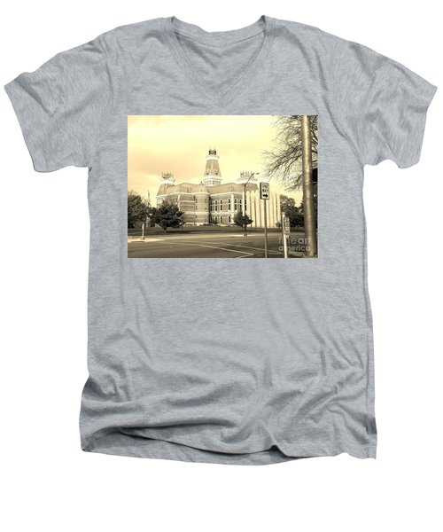 Bartholomew County Courthouse Columbus Indiana - Sepia Men's V-Neck T-Shirt