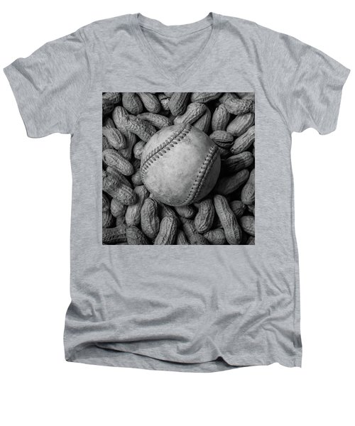 Men's V-Neck T-Shirt featuring the photograph Baseball And Peanuts Black And White Square  by Terry DeLuco