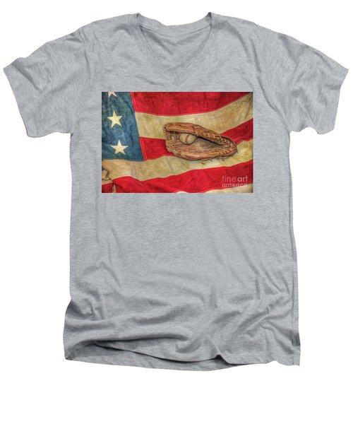 Baseball Glove And Ball On Us Flag Men's V-Neck T-Shirt