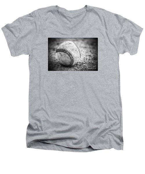 Baseball In Black And White Men's V-Neck T-Shirt