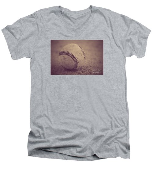 Baseball In Sepia Men's V-Neck T-Shirt