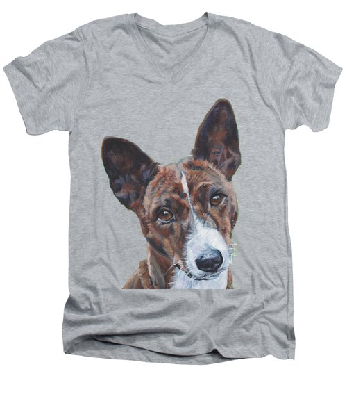 Basenji Dog Painting Men's V-Neck T-Shirt