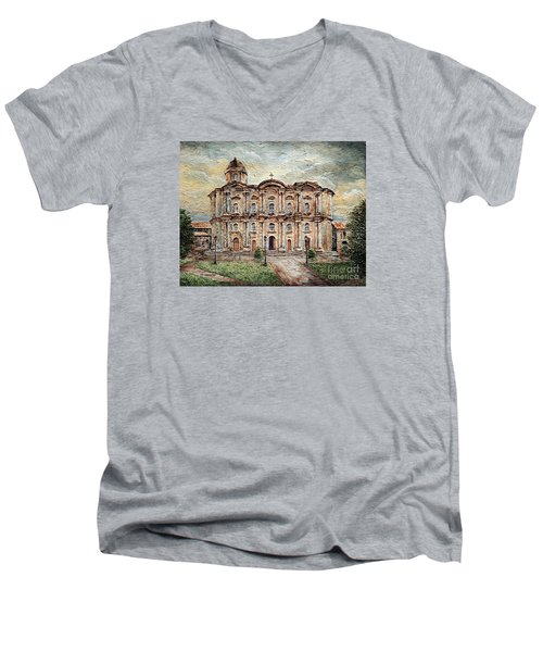 Men's V-Neck T-Shirt featuring the painting Basilica De San Martin De Tours by Joey Agbayani