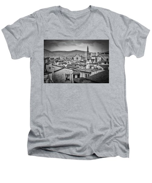 Men's V-Neck T-Shirt featuring the photograph Basilica Di Santa Croce by Sonny Marcyan
