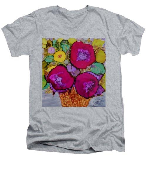 Basket Of Blooms Men's V-Neck T-Shirt by Joanne Smoley