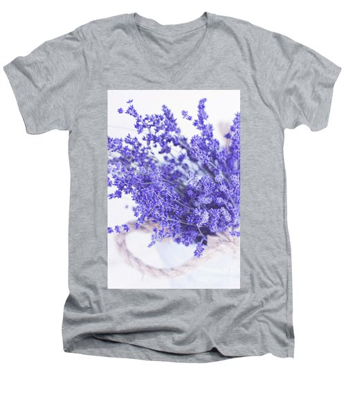 Basket Of Lavender Men's V-Neck T-Shirt by Stephanie Frey