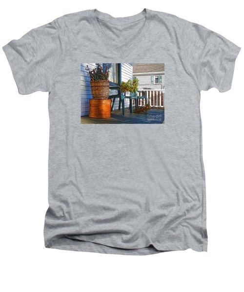 Basket Porch Men's V-Neck T-Shirt by Betsy Zimmerli