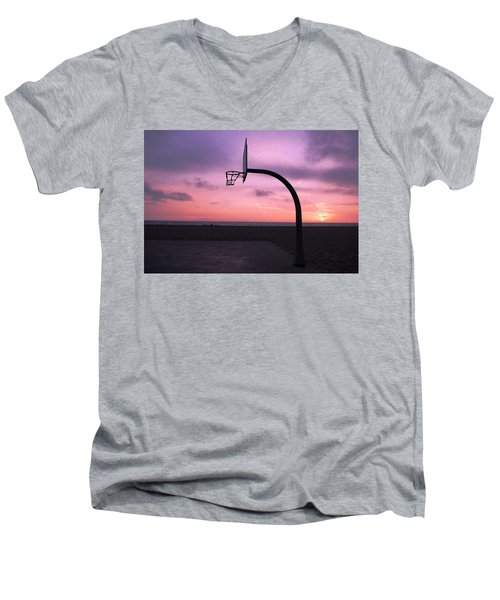 Basketball Court At Sunset Men's V-Neck T-Shirt