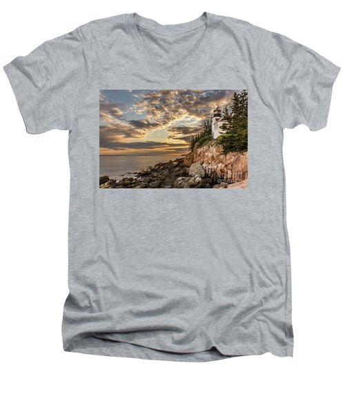 Bass Harbor Head Lighthouse Sunset Men's V-Neck T-Shirt