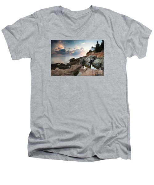 Bass Harbor Lighthouse At Dusk Men's V-Neck T-Shirt