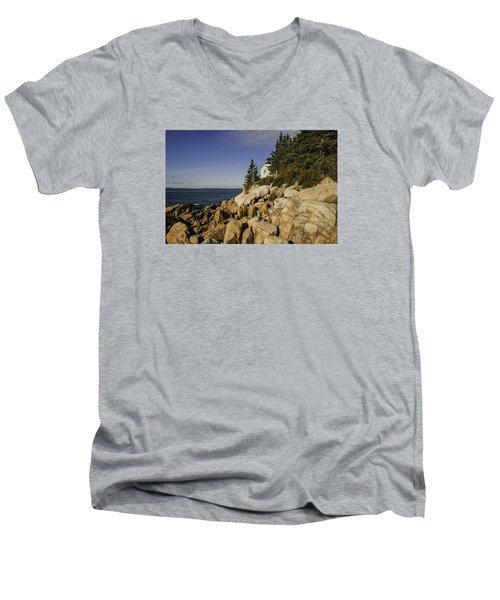 Bass Harbor Lighthouse Men's V-Neck T-Shirt