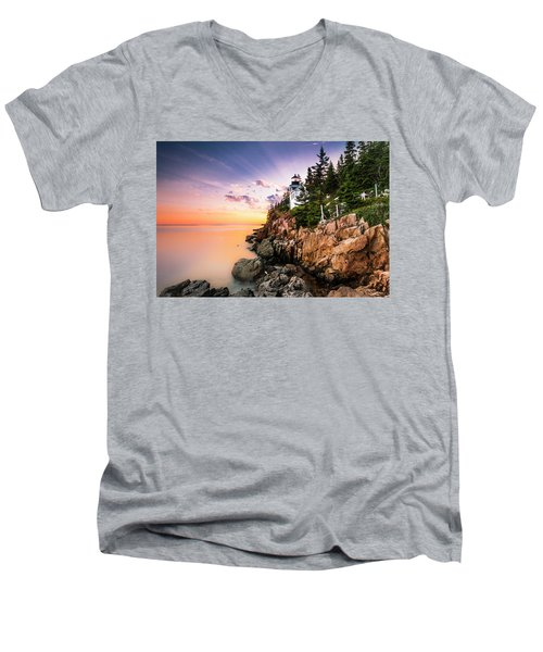 Bass Harbor Lighthouse Sunset Men's V-Neck T-Shirt by Ranjay Mitra