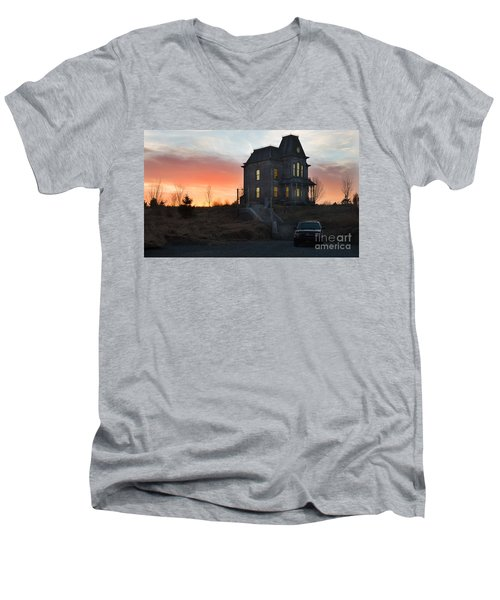 Bates Motel At Night Men's V-Neck T-Shirt by Jim  Hatch