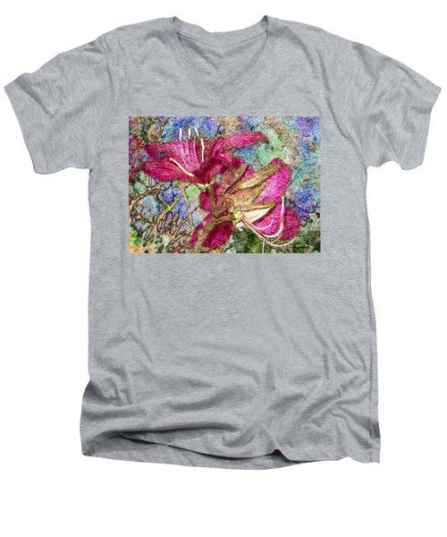 Batik Lilies Men's V-Neck T-Shirt