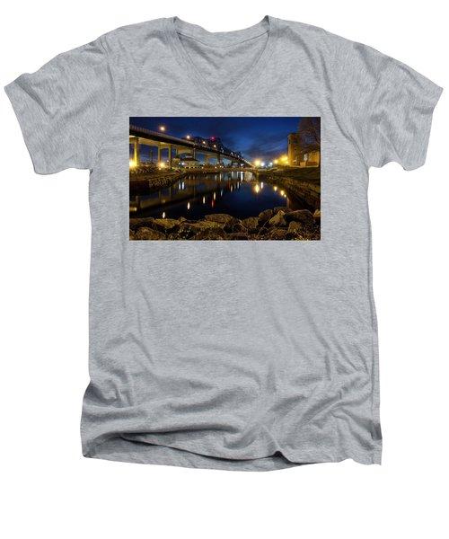 Battleship Cove, Fall River, Ma Men's V-Neck T-Shirt by Betty Denise