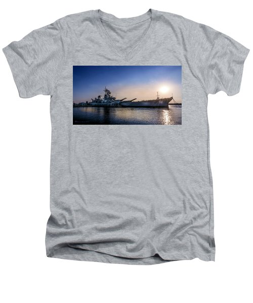 Men's V-Neck T-Shirt featuring the photograph Battleship New Jersey by Marvin Spates