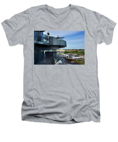 Battleship View Of Wilmington Nc Men's V-Neck T-Shirt by Denis Lemay