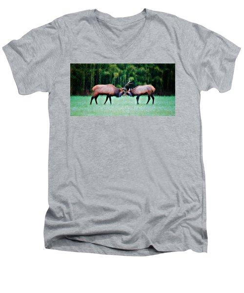 Battling Bulls Men's V-Neck T-Shirt by Lana Trussell