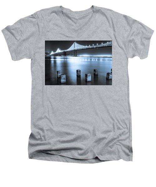 Bay Bridge 1 In Blue Men's V-Neck T-Shirt