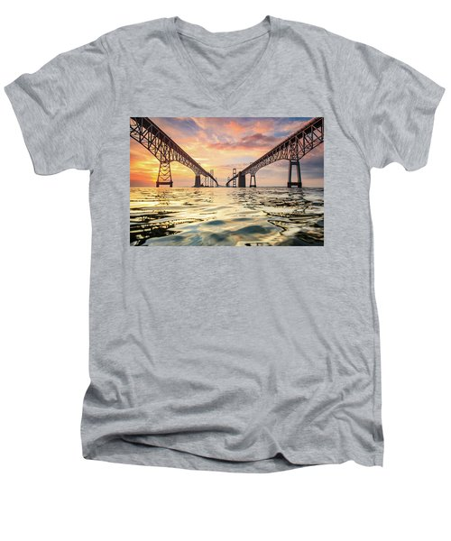 Men's V-Neck T-Shirt featuring the photograph Bay Bridge Impression by Jennifer Casey