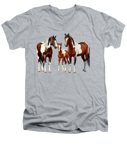 Bay Paint Horses In Winter Men's V-Neck T-Shirt