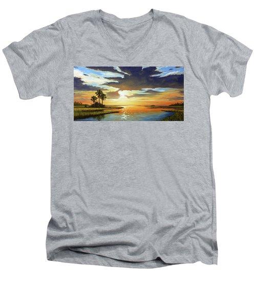 Bay Sunset Men's V-Neck T-Shirt by Rick McKinney