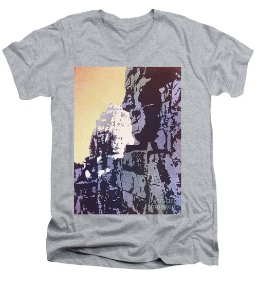 Men's V-Neck T-Shirt featuring the painting Bayon Temple- Angkor Wat, Cambodia by Ryan Fox